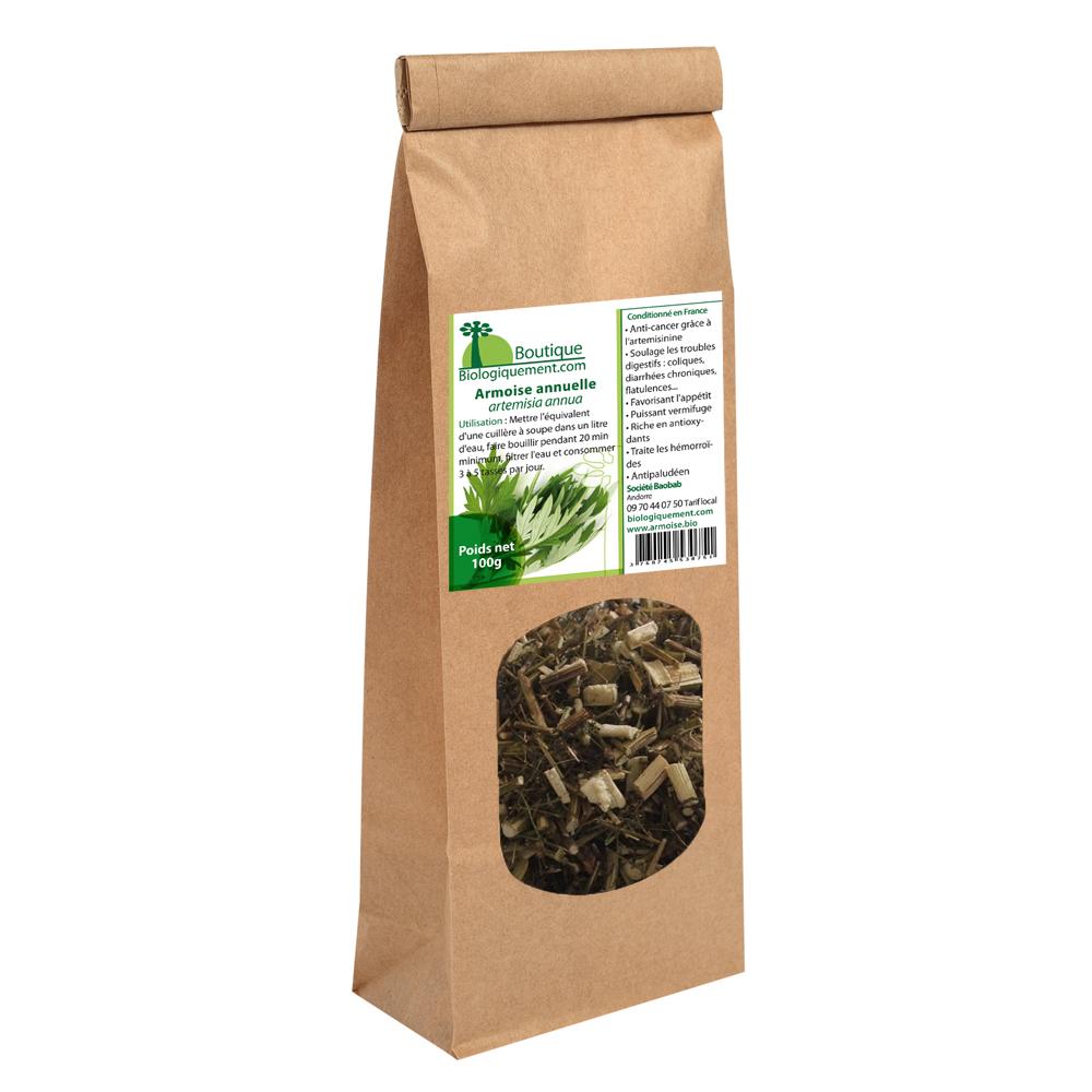 Sachet de 100 gr de tisane de Artemisia annua biologique du laboratoire biologiquement.com